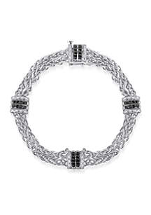 Black Diamond Bracelet in Sterling Silver