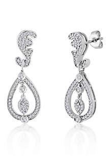 Diamond Tear Drop Earrings in Sterling Silver