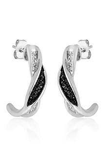 Black and White Diamond J Hoop Earrings in Sterling Silver