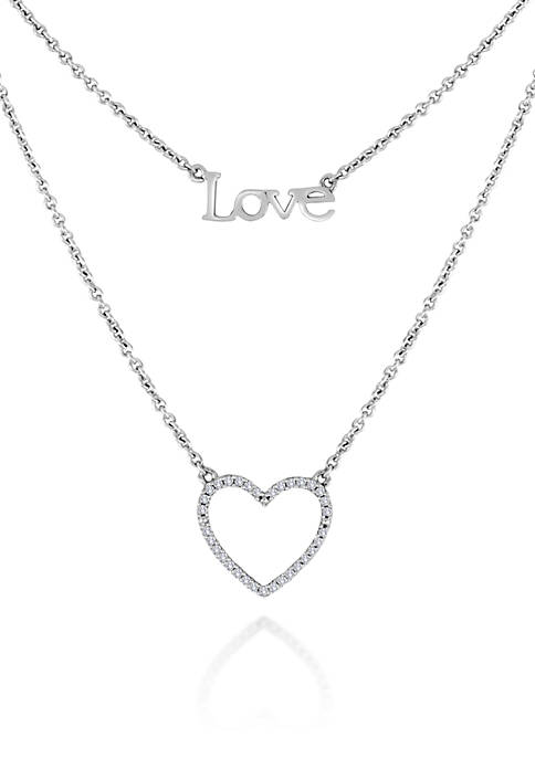 Belk & Co. Diamond Heart and Love Necklace