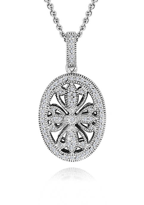 Belk & Co. Diamond Oval Pendant in Sterling