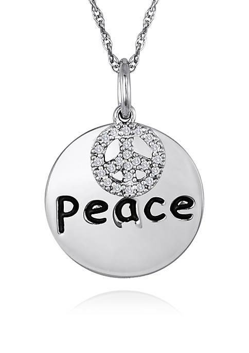 "Belk & Co. Diamond ""Peace"" Disc Pendant in"