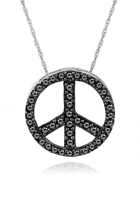 """Diamond """"Peace Sign"""" Pendant in Sterling Silver"""
