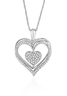 1/4 ct. t.w. Flip Double Heart Pendant set in Sterling Silver