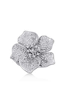 Diamond Flower Ring in Sterling Silver