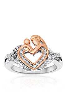 Diamond Mother & Child Heart Ring in Sterling silver and 14k Rose Gold