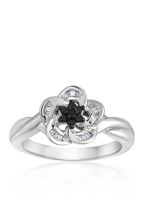 Belk & Co. Black and White Diamond Flower