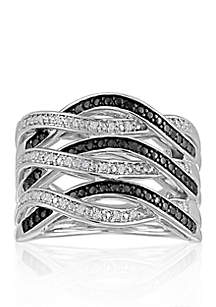 1/2 ct. t.w. Black & White Diamond Weave Ring set in Sterling Silver