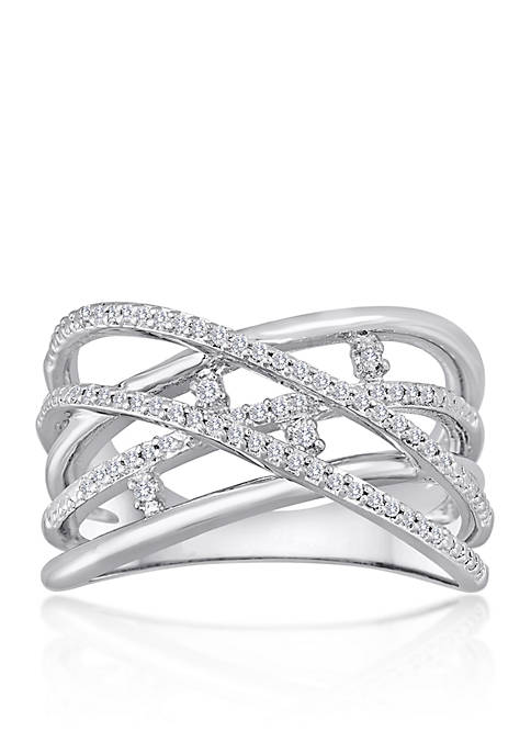 Diamond Crossover Ring in Sterling Silver