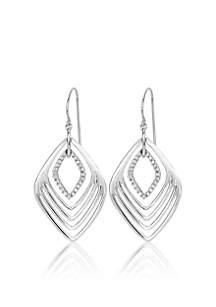Diamond Drop Earrings in Sterling Silver