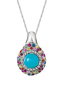Robin's Egg Turquoise™, Vanilla Sapphires™, Bubblegum Pink Sapphires™, Blue Sapphires™, Orange Sapphire, Sunny Yellow Sapphire™, Green Sapphire and Passion Ruby™ Pendant Necklace in 14k Vanilla Gold®
