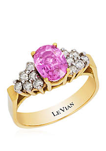Le Vian® 1.33 ct. t.w. Bubblegum Pink Sapphire™ and 3/8 ct. t.w. Vanilla Diamonds® Ring Set in 14K Honey Gold
