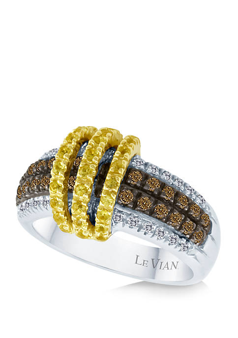 1/3 ct. t.w. Sunny Yellow Sapphires™, 1/3 ct. t.w. Chocolate Diamonds®, and 1/6 ct. t.w. Vanilla Diamonds® Ring in 14k Two Tone Gold