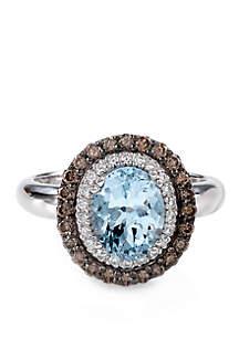 3/8 ct. t.w. Sea Blue Aquamarine®, 3/8 ct. t.w. Chocolate Diamonds®, and 1/10 ct. t.w. Vanilla Diamonds® Ring in 14k Vanilla Gold®