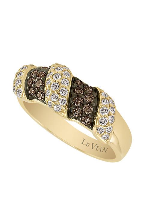 Chocolatier® 1/3 ct. t.w. Chocolate Diamonds® & 3/8 ct. t.w. Vanilla Diamonds™ Ring in 14k Honey Gold™