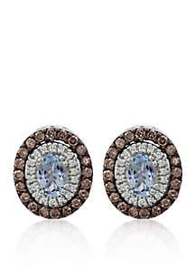 14k Vanilla Gold ® Sea Blue Aquamarine®, Chocolate Diamond®, and Vanilla Diamond® Earrings