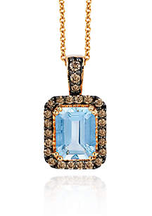 Sea Blue Aquamarine® and Chocolate Diamond® Pendant in 14k Strawberry Gold®
