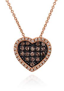 Chocolate Diamond® and Vanilla Diamond® Pendant in 14k Strawberry Gold®