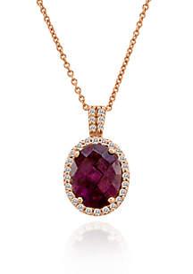 14k Strawberry Gold® Raspberry Rhodolite® and Vanilla Diamond™ Pendant
