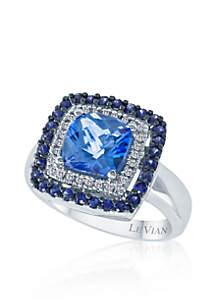 Ocean Blue Topaz™, Blueberry Sapphire™, and Vanilla Diamond® Ring in 14k Vanilla Gold®