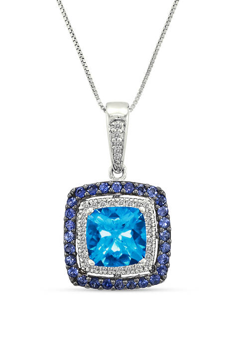 2.2 ct. t.w. Blue Topaz, 1/10 ct. t.w. Diamonds and 1/2 ct. t.w. Sapphires Pendant Necklace in 14k White Gold