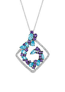 2.77 ct. t.w Ocean Blue Topaz®, 1.25 ct. t.w. Grape Amethyst®, 0.31 ct. t.w. Vanilla Topaz® Pendant in 14k Vanilla Gold®