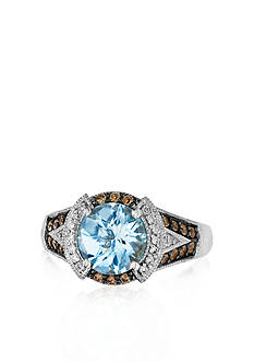 Le Vian&reg; 14k Vanilla Gold&trade; Sea Blue Aquamarine&reg;, Chocolate Diamond&reg; and Vanilla Diamond&trade; Ring <br>