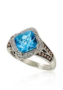 Ocean Blue Topaz™, Chocolate Diamond®, and Vanilla Diamond® Accent Ring in 14k Vanilla Gold®