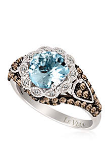 1/2 ct. t.w. Sea Blue Aquamarine®, 3/4 ct. t.w. Chocolate Diamonds®, and 0.04 ct. t.w. Vanilla Diamonds® Ring in 14k Vanilla Gold®