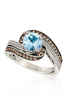 Sea Blue Aquamarine, Chocolate Diamonds, and Vanilla Diamonds Ring in 14k Vanilla Gold