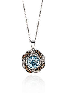 Le Vian® 14k Vanilla Gold™ Sea Blue Aquamarine®, Chocolate Diamond® and Vanilla Diamond™ Pendant