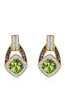 3/4 ct. t.w. Green Apple Peridot™, 1/3 ct. t.w. Vanilla Diamonds®, and 1/6 ct. t.w. Chocolate Diamonds® Earrings in 14k Honey Gold™