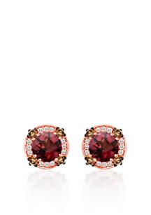 14k Strawberry Gold® Raspberry Rhodolite®, Chocolate Diamond®, and Vanilla Diamond® Earrings