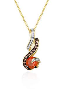 14k Honey Gold™ Neon Tangerine Fire Opal®, Chocolate Diamond® and Vanilla Diamond® Pendant