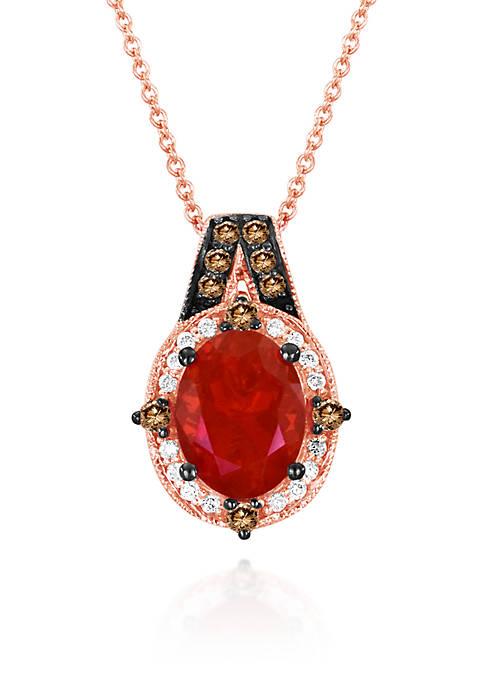 14k Strawberry Gold® Neon Tangerine Fire Opal®, Chocolate Diamond®, and Vanilla Diamond® Pendant