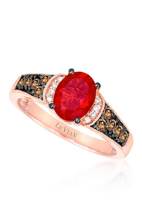 14k Strawberry Gold® Neon Tangerine Fire Opal®, Chocolate Diamond®, and Vanilla Diamond® Ring