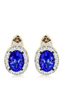 1/3 ct. t.w. Blueberry Tanzanite®, 1/6 ct. t.w. Vanilla Diamonds®, and 0.05 ct. t.w. Chocolate Diamonds Earrings in 14k Honey Gold™