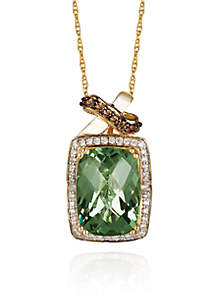 Le Vian® Mint Amethyst™, Vanilla Diamond®, and Chocolate Diamond® Pendant in 14k Honey Gold™