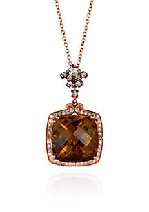 14k Strawberry Gold® Caramel Quartz™, Vanilla Diamond®, and Chocolate Diamond® Pendant
