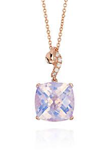 Lavender Quartz and Vanilla Diamond® Accent Pendant in 14k Strawberry Gold®
