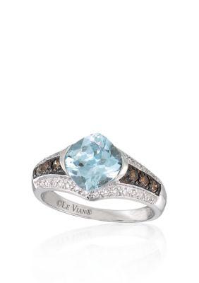 Le Vian Women 14K Vanilla Gold Sea Blue Aquamarine, Chocolate Diamond And Vanilla Diamond Ring