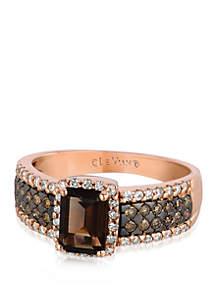 3/4 ct. t.w. Chocolate Quartz®, 1/4 ct. t.w. Chocolate Diamonds®, and 1/4 ct. t.w. Vanilla Diamonds® Ring in 14k Strawberry Gold®