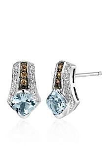 Sea Blue Aquamarine®, Vanilla Diamond®, and Chocolate Diamond® Earrings in 14k Vanilla Gold®