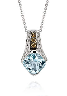 Sea Blue Aquamarine, Chocolate Diamonds, and Vanilla Diamonds Pendant Necklace in 14k Vanilla Gold