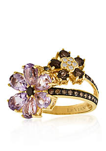 Amethyst, Chocolate Quartz®, Chocolate Diamond® and Vanilla Diamond® Accent Ring in 14k Strawberry Gold®