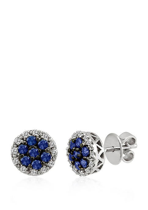 5/8 ct. t.w. Cornflower Ceylon Sapphire™ and 1/4 ct. t.w. Vanilla Diamonds® Earrings in 14k Vanilla Gold®