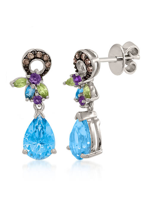 Ocean Blue Topaz™, Amethyst, Green Apple Peridot™, and Chocolate Diamond® Earrings in 14k Vanilla Gold®