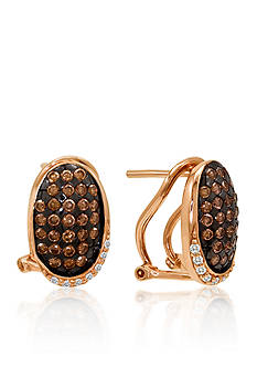 Le Vian® Chocolate Diamond® and Vanilla Diamond® Huggie™ Earrings in 14k Strawberry Gold®