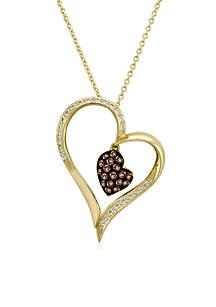 Le Vian Chocolatier® 0.16 ct. t.w. Vanilla Diamonds® and 0.25 ct. t.w. Chocolate Diamonds® Pendant necklace in 14K Honey Gold™