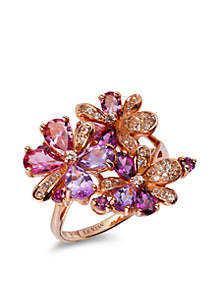 Le Vian® Grape Amethyst & Passion Fruit Tourmaline Ring in 14k Strawberry Gold